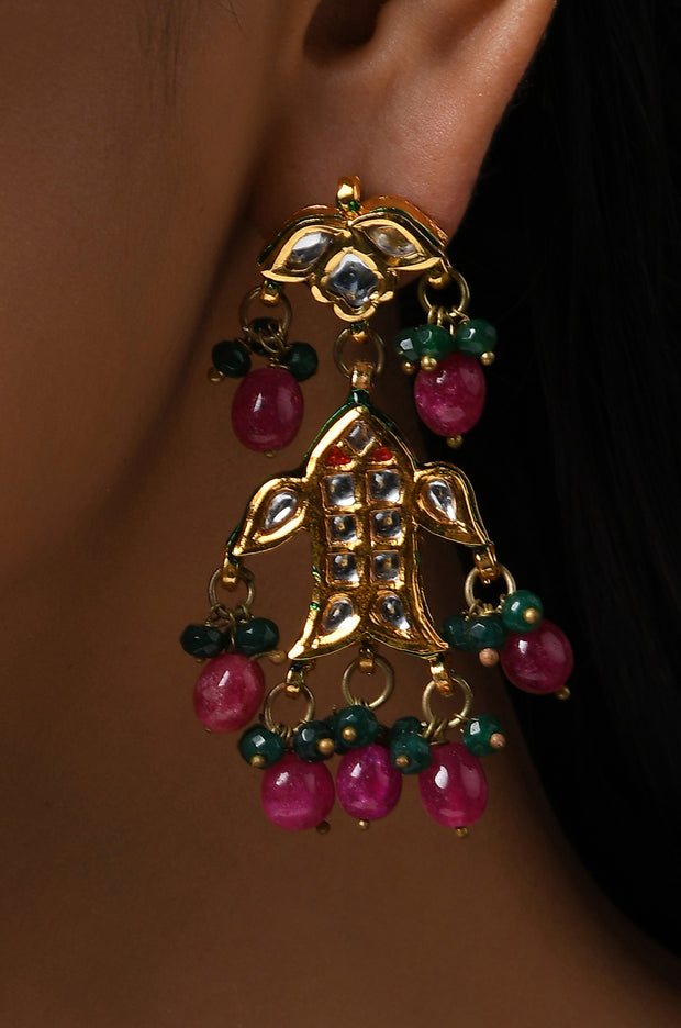 Esna Multicolored Gold Tone Kundan Inspired Earrings