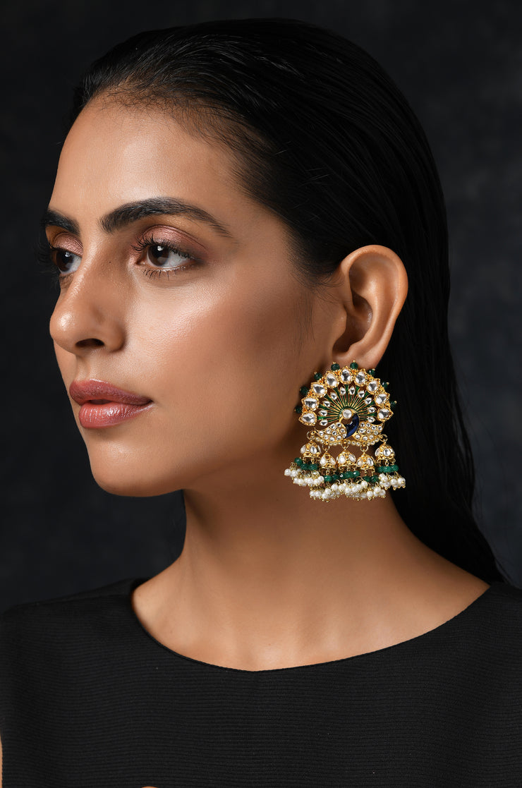 Mayuri Emerald Green Polki Earrings