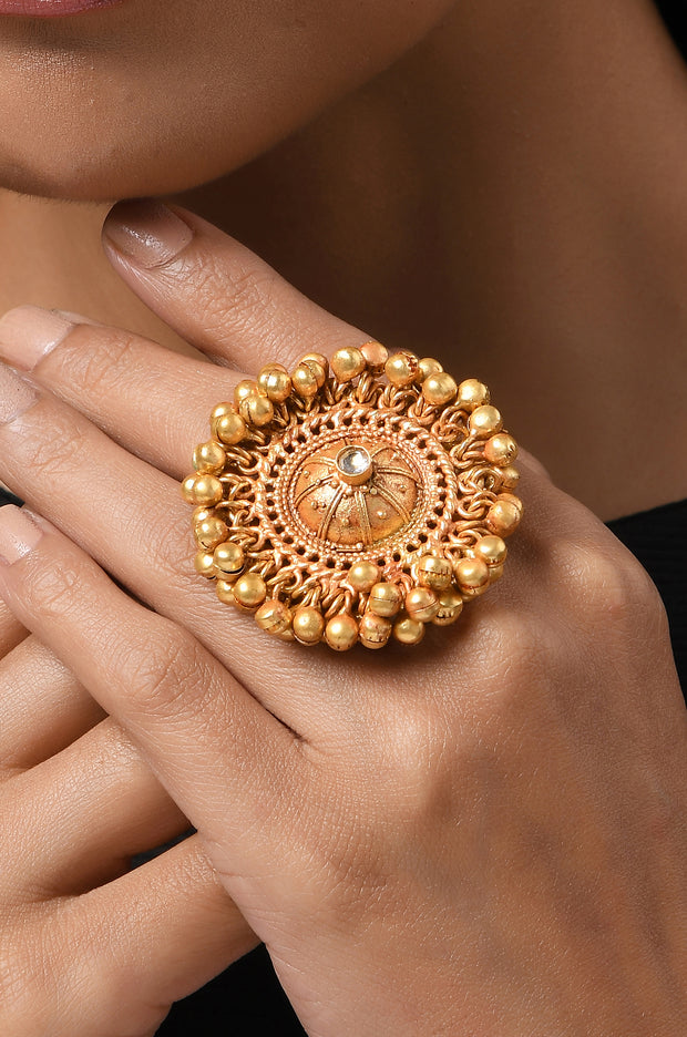 Aarti Gold Ghungroos Contemporary Temple Work Ring