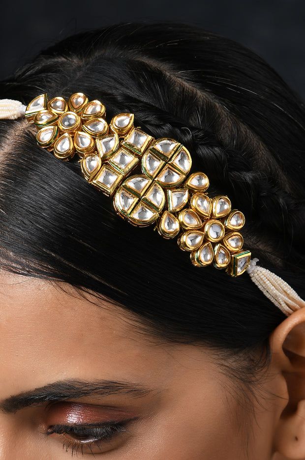 Hemangi  Polki and Pearls Head Band