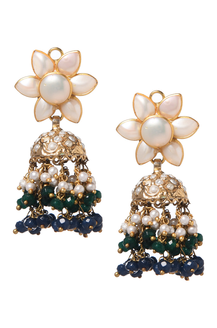Sherleen Green Gold Tone Pearl and Jadau Jhumkis