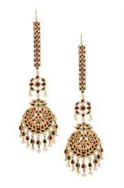 Harshiya Red-Green Gold Tone Kundan Inspired Chaandbali Earrings