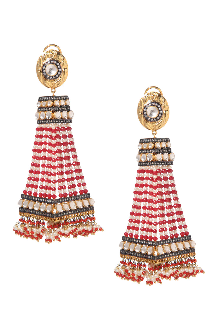 Reem Red White Gold Plated Kundan Inspired Pearl Earrings