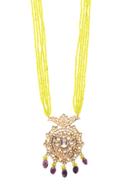 Rahini Green-Blue Gold Tone Kundan Pendant Necklace