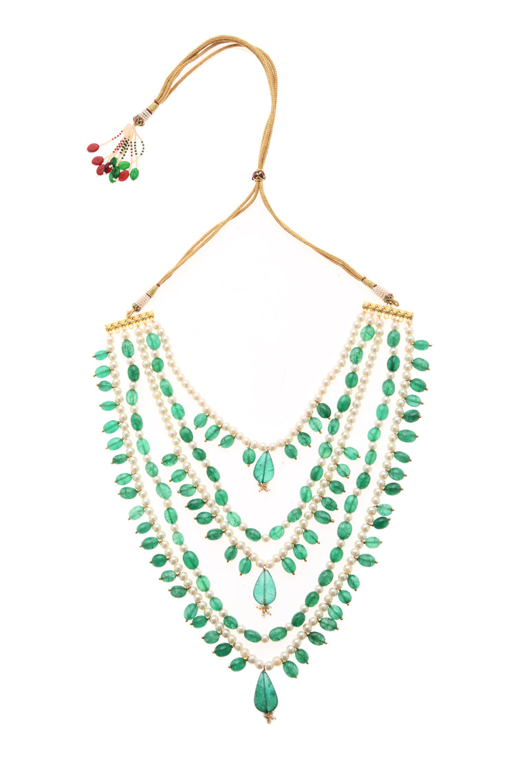 Samhita White Green Gold Tone Pearl Beaded Necklace