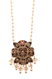 Amba Gold Tone Blue Jadau Necklace