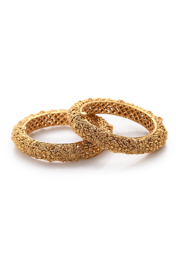 Latisha Gold Plated Temple Work Bangles - Set of 2