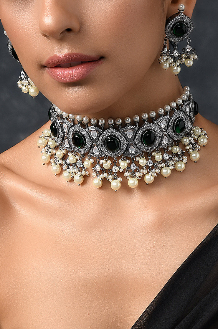 Akshara Green Victorian Stone Polki Necklace With Earrings