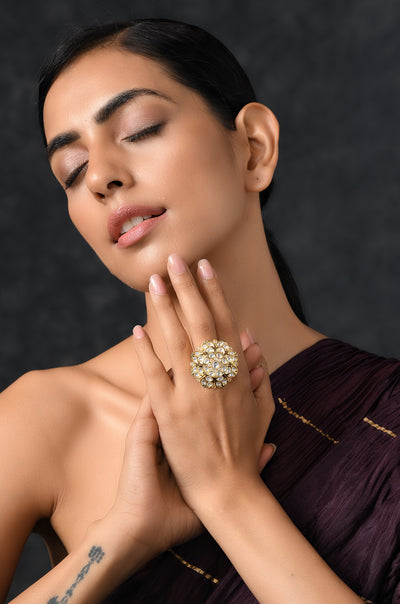 Daksha Gold Plated Kundan Ring