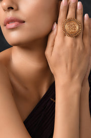 Nathika Gold Plated Temple Work Ring