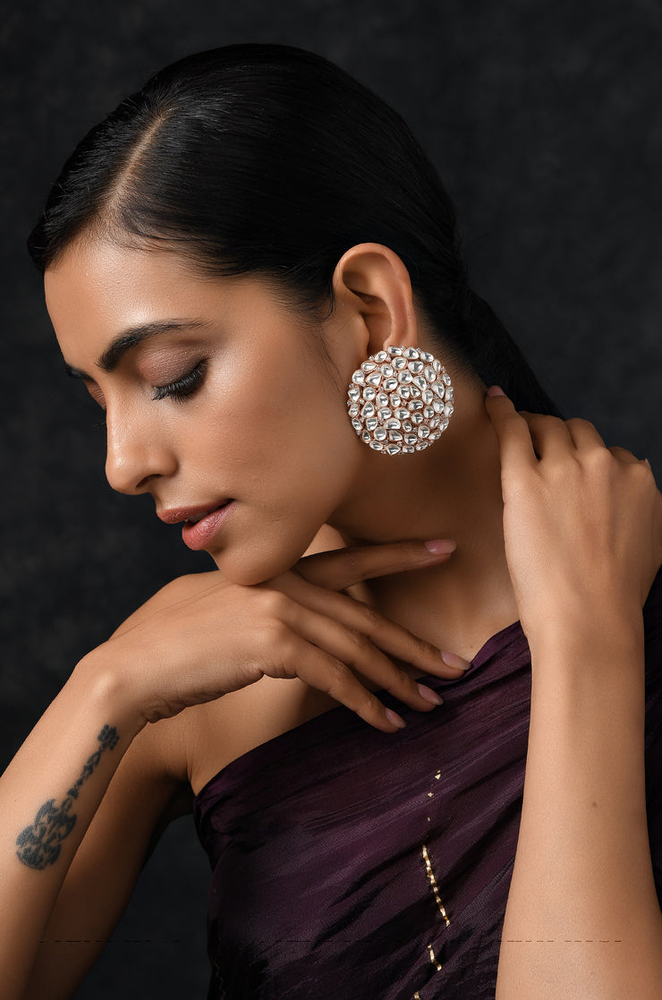 Saeeda Rose Gold Plated Polki Earrings