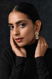 Ishaani Gold Plated Polki Earrings