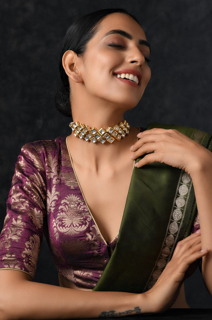 Safia Gold Plated Kundan Choker Necklace