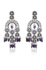 Aanqa Victorian Polki and Purple Amethyst Necklace Set
