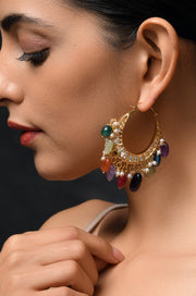 Garima Multicolored Gold Tone Polki And Jade Chandbali Earrings