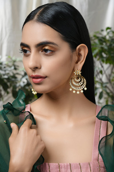 Sarab Gold Tone Kundan Chaandbali Earrings
