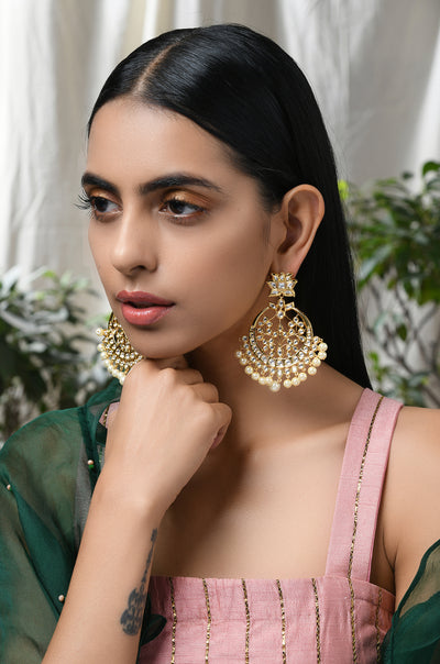 Rhagvi Kundan and Pearls Chandbaali Earrings