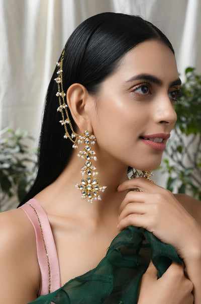 Rabhya Gold Tone Kundan Inspired Earrings with Pearls