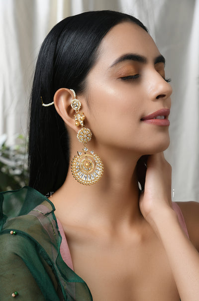 Faridha Gold Tone Polki Inspired Earrings with Pearls