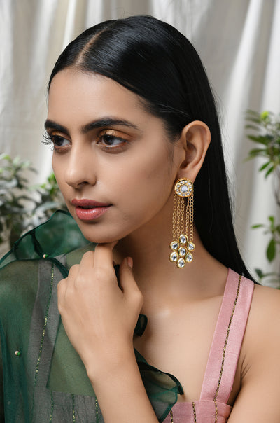Falak Gold Tone Kundan Inspired Earrings