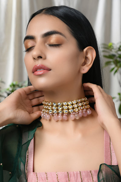 Mansi Rose Gold Plated Kundan Choker Necklace