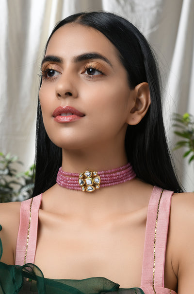 Yashini Pink Gold Tone Kundan Inspired Stones Choker Necklace