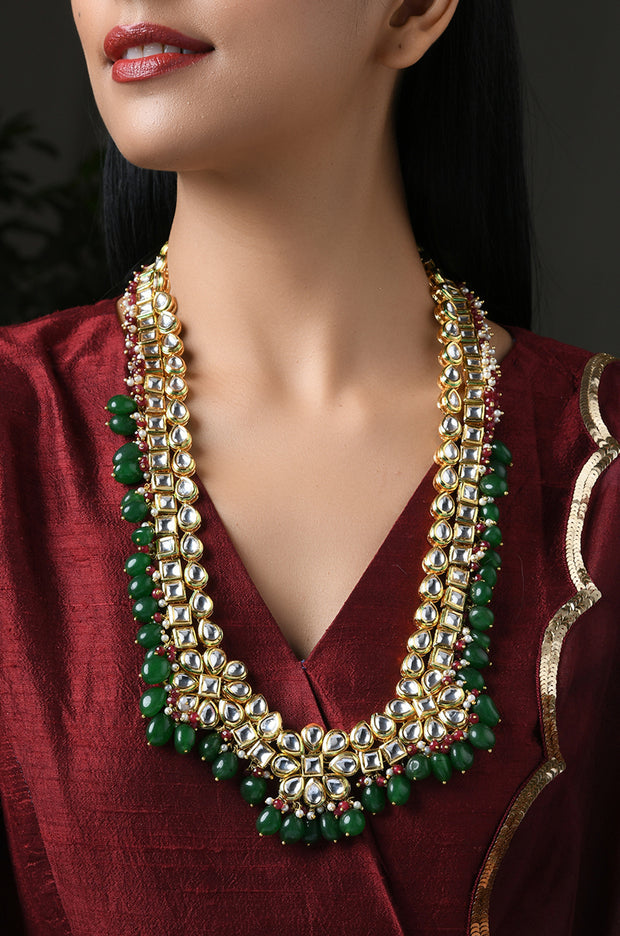 Babita Green Red Gold Tone Kundan Necklace With Pearls