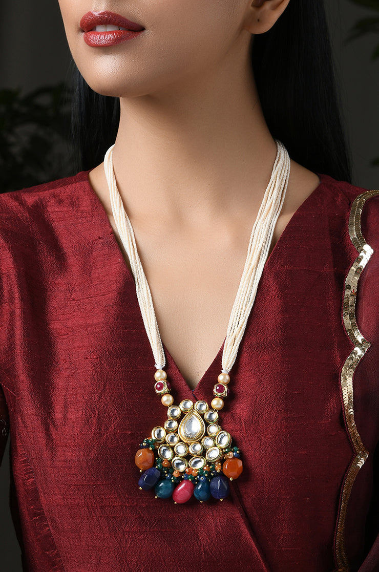 Nehrika Multicoloured Kundan Inspired Pearl Necklace