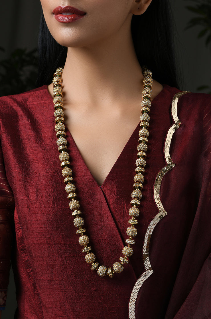 Madhavi White Gold Tone Pearls and Jadau Necklace