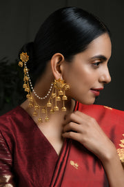 Pritha Gold Tone Temple Work Earrings