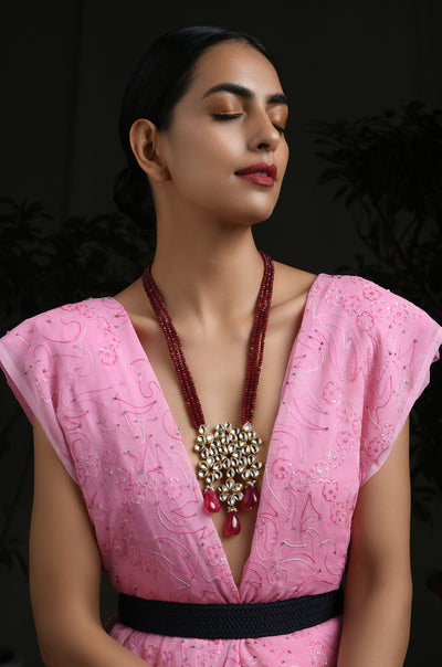 Marisa Ruby Red Gold Tone Kundan Necklace