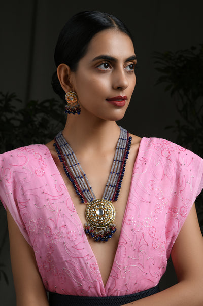Binita Red Blue Gold Tone Kundan Necklace With Earrings