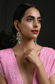 Prisha Turquoise Gold Tone Kundan Earrings