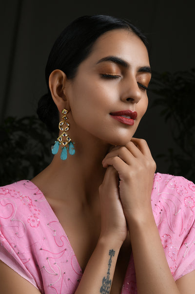 Miya Turquoise Gold Tone Kundan Inspired Earrings