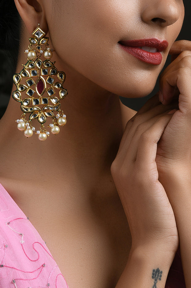 Zenia Red Gold Tone Kundan Earrings With Pearls