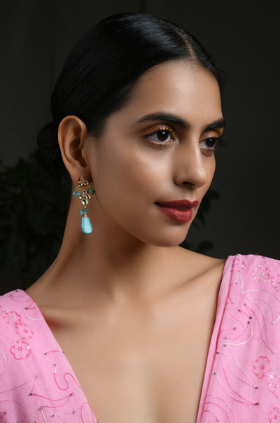 Halima Gold Tone Turquoise Kundan Inspired Earrings