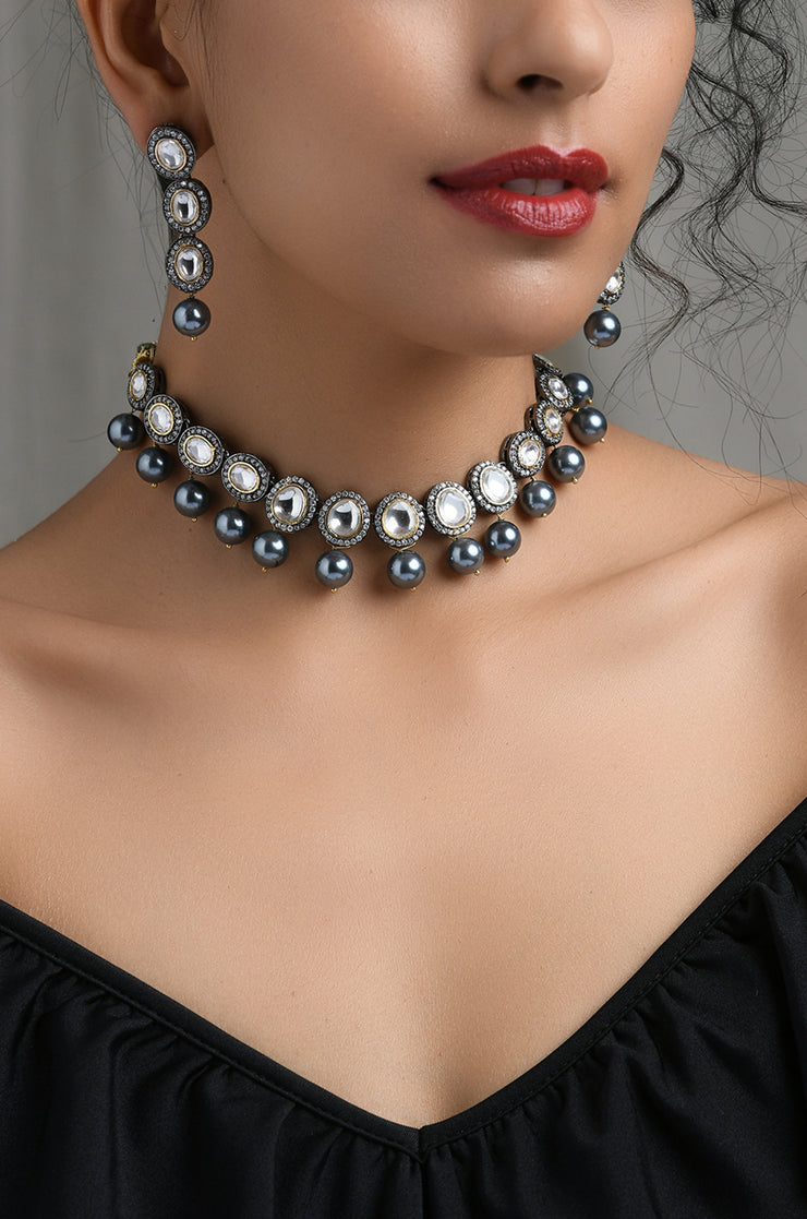 Mahika Silver Victorian Choker Necklace with Earrings