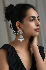 Jhalak Silver Tone Victorian Jhumkis with Pearls