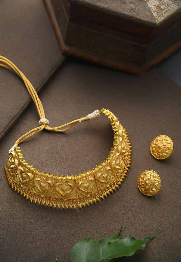 Deepika Gold Tone Temple Work Necklace with Studs