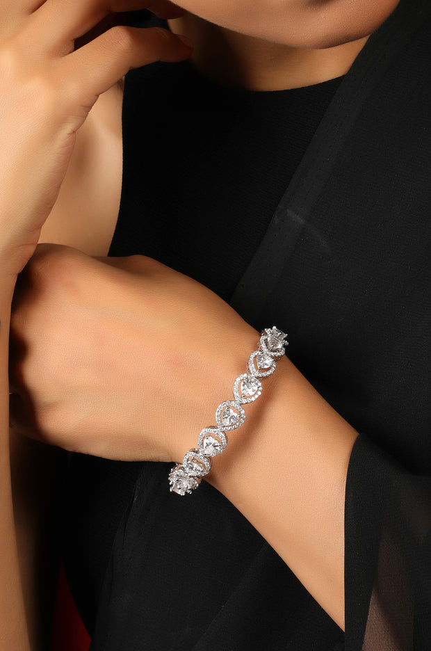 Prishakha Faux Diamond Hearts Silver Plated Bangle