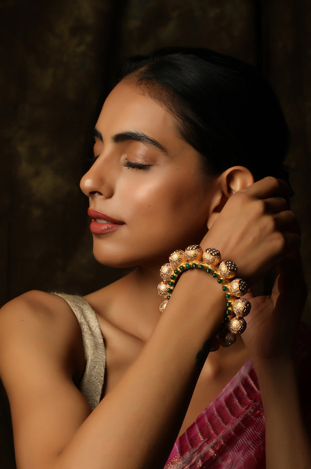 Jahaana Gold Plated Pastel Pink Meenakari and Kundan Pacheli Bangle