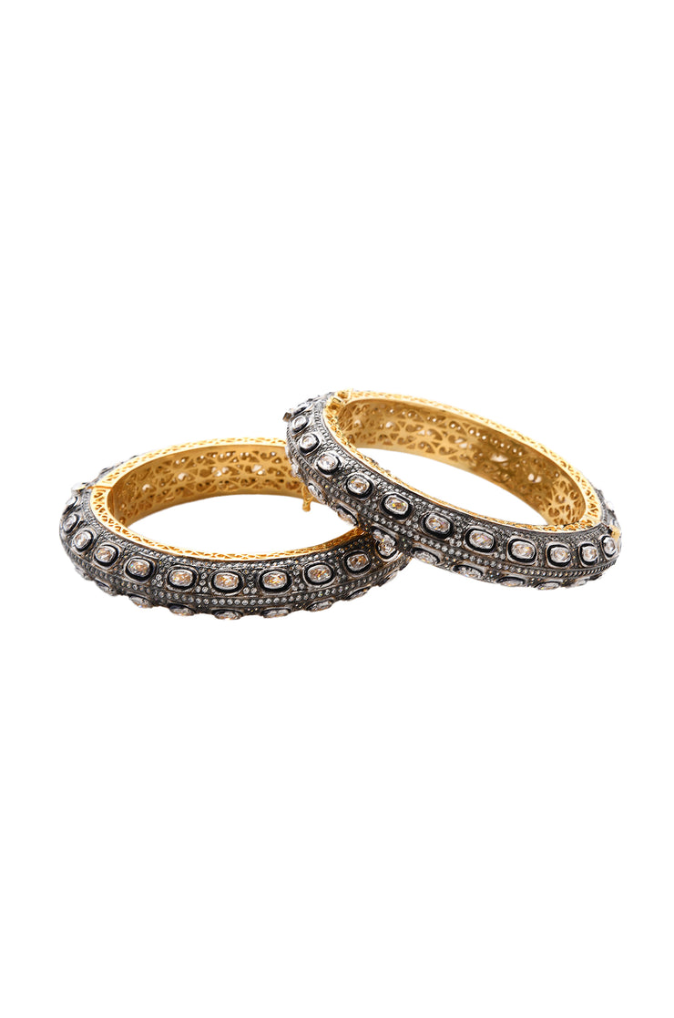 Privika Victorian Polki Uncut Two Tone Bangles - Set of 2