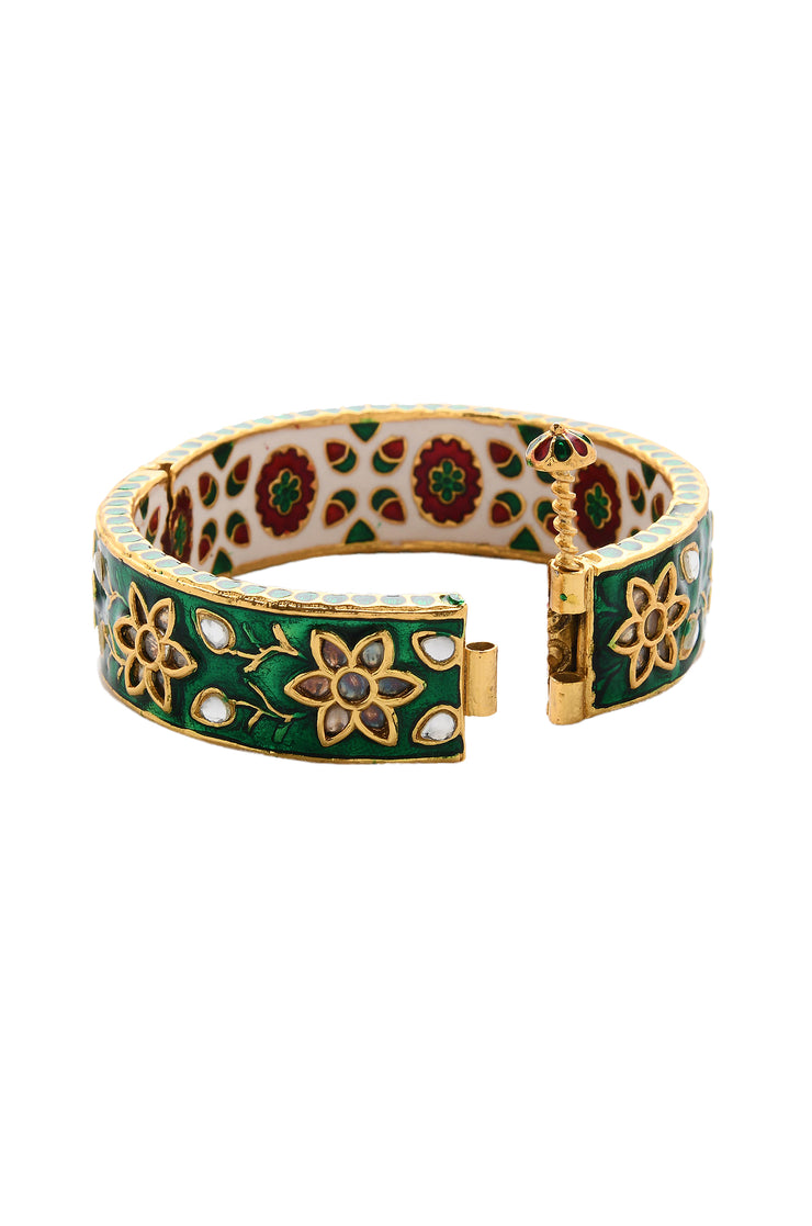 Surina Gold Plated Green Meenakari Kundan Bangle