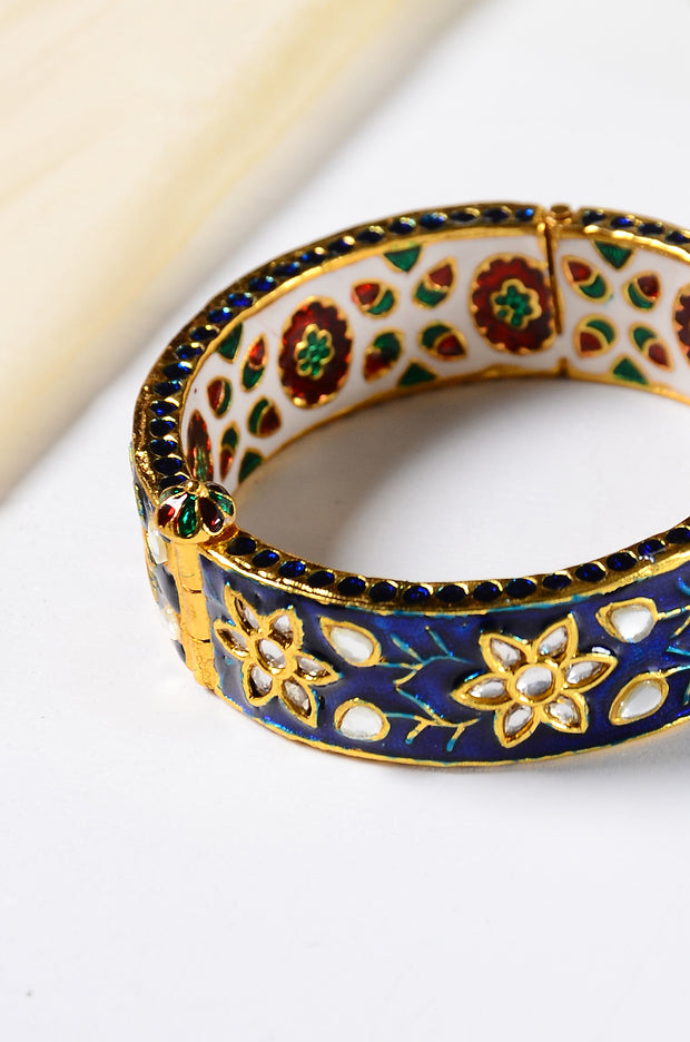 Surina Gold Plated Blue Meenakari Kundan Bangle
