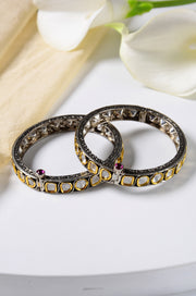 Drishti Victorian Polki Uncut Two Tone Bangles - Set of 2