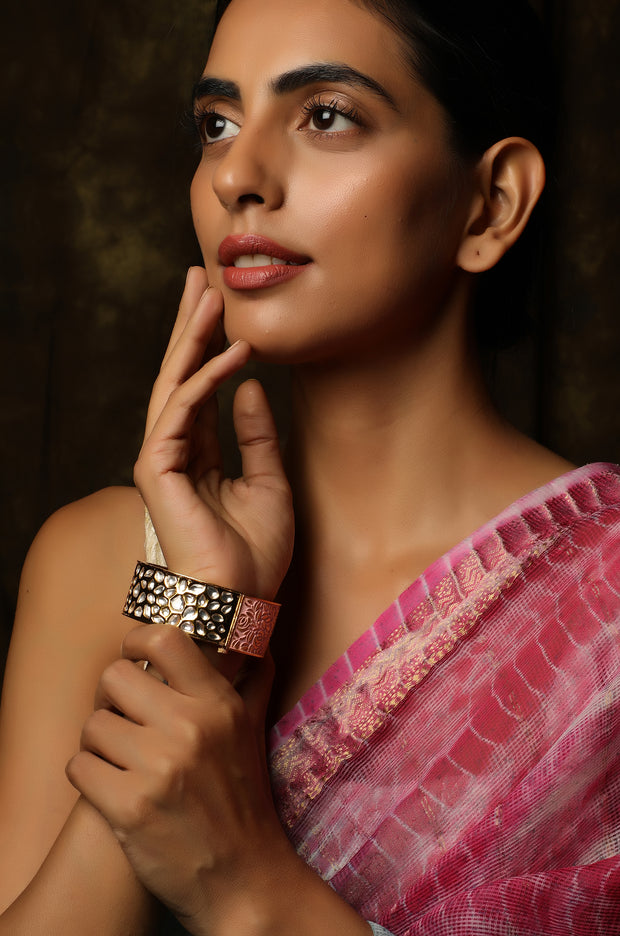 Tabassum Gold Plated Pastel Pink Meenakari and Kundan Floral Bangle