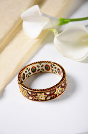 Surina Gold Plated Red Meenakari Kundan Bangle