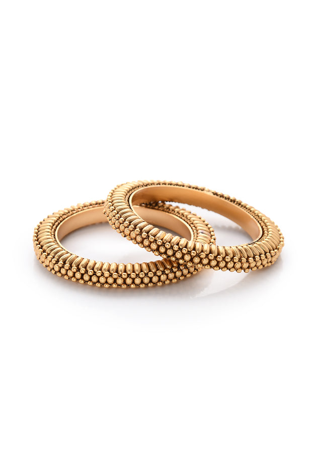 Geet Temple Work Delicate Bangles - Set of 2