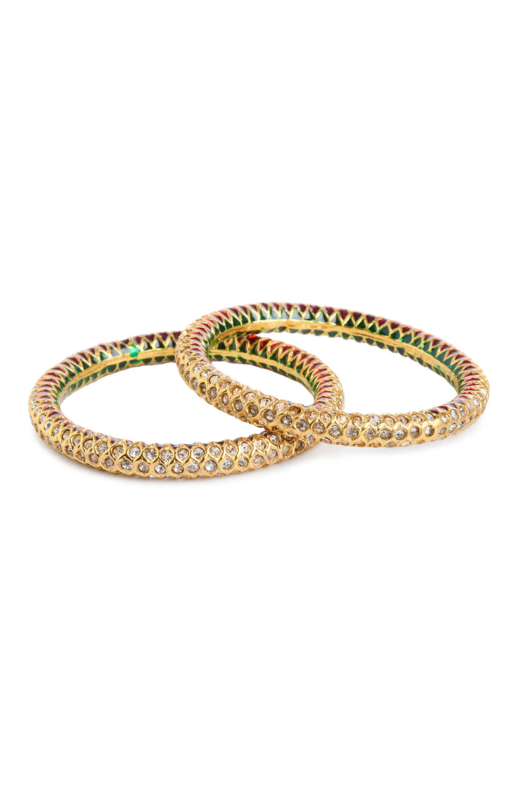 Tanika Gold Tone Polki Jadau Bangle - Set Of 2