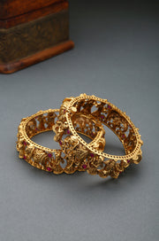 Ginni Gold Plated Temple Work Bangles - Set of 2
